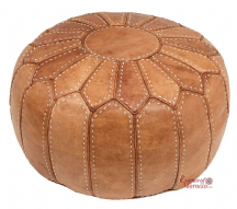 Moroccan Pouffe Pouf Footstool Ottoman Stuffed Genuine Natural Tan Leather Handmade Hand-stitched